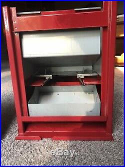 Vintage Coin Op Operated Pencil Pen Vending Machine, Porcelain Coated Sign Front