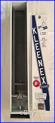 Vintage Coin Operated Kleenex Tissues Pocket Pack Dispenser / Vending Machine