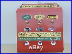 Vintage Coin Operated Machine Famous Brands Cologne Dispenser