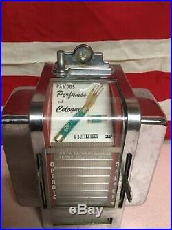 Vintage Coin Operated Perfume Dispenser Vending Machine Working. Napkin Holder