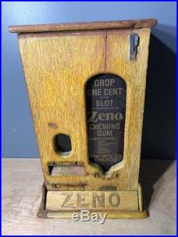 Vintage Coin Operated Zeno Chewing Gum Vending Machine Wooden Zeno