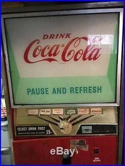 Vintage Coke Coca Cola 1960s Vending Machine lights up, runs, and cools
