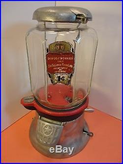 Vintage Columbus Octagonal Glass Gumball Vending Machine, Repainted