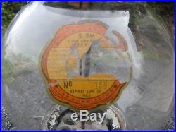 Vintage Columbus Vendor 1 Cent Gumball Vending Machine Barrel Locks Star Globe