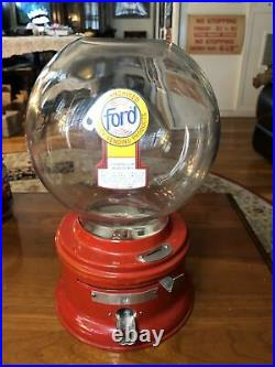Vintage FORD Bubble Gum Ball 1 Cent Candy Store Machine Complete