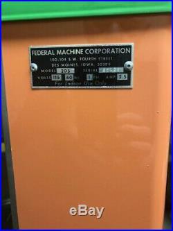 Vintage Federal Machine Corp Coin Op Popcorn Vending Machine
