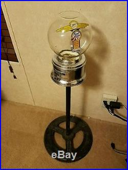 Vintage Ford Glass Globe Gumball Machine Penny 1 Cent with Stand