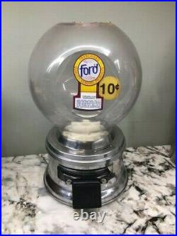 Vintage Ford Gum Gumball Machine with Plastic Globe and Ford Franchised Decal