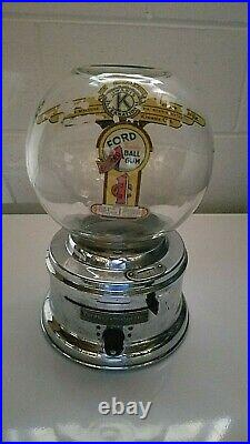 Vintage Ford Gumball 1 Cent Machine Glass Globe