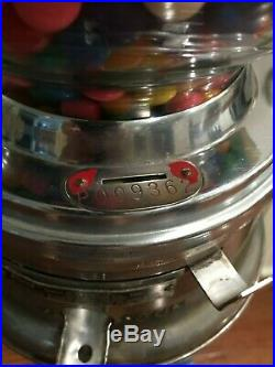 Vintage Ford Gumball Penny Machine With Cast Iron Stand As Is 1950's-1960's