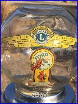 Vintage Ford Penny Gumball candy vending machine on stand, 1 Cent. Lions Club 38