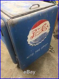 Vintage Ge Electric Pepsi Double Dot Ice Chest Cooler 7up Coca Cola Rare
