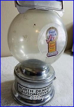 Vintage Genuine Ford Gumball Candy Machine Coin Op Penny Vending
