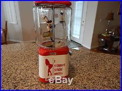 Vintage Gum Ball/Peanut Machine Las Vegas Theme Oak Vending Coin OP