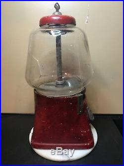 Vintage Gumball Machine. 1 Cent Silver King. Original Red Paint And Key. 1940s