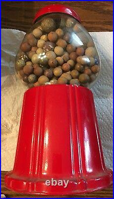 Vintage Gumball Machine Carousel Red Coin Bank With Clay And Glass Marbles
