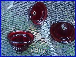 Vintage Gumball Machine Red Glass Dome Top With Punched locks Lot of Three