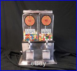 Vintage Gumball Peanut Candy Vending Machine- Log Cabin Duplex- Working With Key