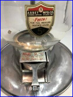 Vintage Gumball Vending Machine 5 Cent Gum Ball / Peanut Glass Globe Abbey MFG
