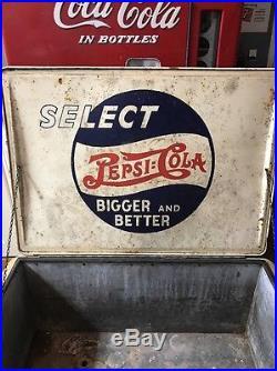 Vintage Heinz Pepsi Ice Chest Cooler Double Dot 7up Coca Cola Coke Rare