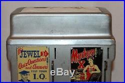 Vintage Jewel IQ Test / Madam X 1¢ Coin Operated Fortune Teller Napkin Dispenser