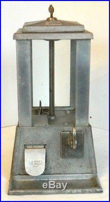 Vintage L. A. MFGR'S SUN 5 Cent Gumball / Peanut Machine, Los Angeles Mfg