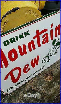 Vintage MOUNTAIN DEW porcelain sign vending machine plaque soda fountain display
