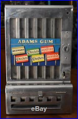 Vintage Mills Stainless Steel Tab Penny Coin Operated Adams Gum Machine No Key