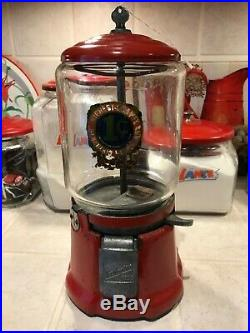 Vintage NORTHWESTERN penny Try Some peanut gumball candy dispenser machine withk