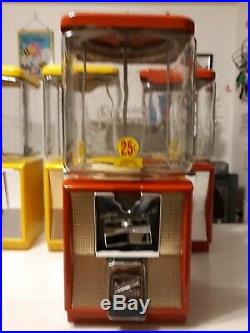 Vintage Northwestern model 60, 25 cent Gumball/Candy machine withembossed globe