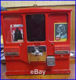 Vintage Oak Premiere Gum & Card Coin Op Vendor Machine with over 550 cards