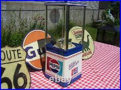 Vintage Oak Vista 60s 70s Restored Gumball Machine In 70s Pepsi Cola Theme