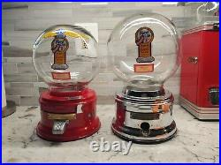 Vintage One Cent Ford Gumball Machine Glass Globe Red, Chute Cover & Side Decals