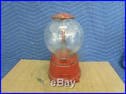 Vintage One Cent Penny Gumball Vending Machine with original round glass globe