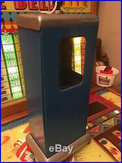 Vintage One Cent Penny SWEETETT Vending Gum Machine Original Blue Paint with key