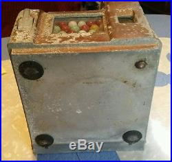 Vintage One cent penny slot machine gum vender Original Estate find LOOK