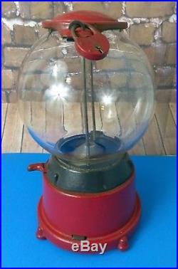 Vintage Original Cast Iron 1¢ cent Gumball Machine Circa 1920s! WithKeys