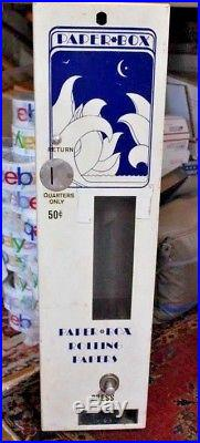 Vintage Paper Box Rolling Papers Vending Machine from the 1960's Coin Op