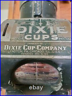 Vintage Penny One Cent Coin Operated Dixie Cup Dispenser, Glass tube with Cups