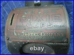 Vintage Penny One Cent Coin Operated Dixie Cup Dispenser, Wall Mount Designed