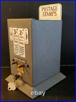 Vintage Penny Trade Vending Machine 2 & 3 Cent Postage Stamp Machine Working