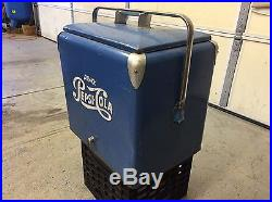Vintage Pepsi Cola picnic ice chest cooler. Metal sign advertising