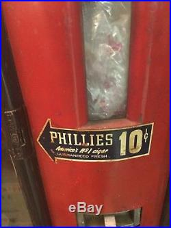 Vintage Phillies Cigar Vending Machine Coin Operated Very Rare! Art Deco