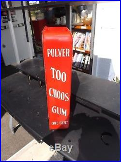 Vintage Porcelain Pulver One Cent Gum Machine Yellow Kid withkeys working