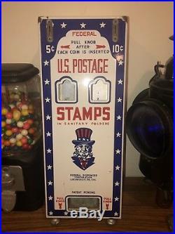 Vintage Porcelain Uncle Sam US Postage Stamp Coin Operated Federal Dispenser LA