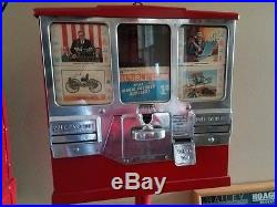Vintage Premiere Gum and Card Vendor Oak Mfg Coin Operated with Stand California
