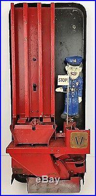Vintage Pulver Chewing Gum Machine One Cent Coin Op Vending Red Porcelain Enamel