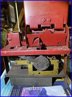 Vintage Pulver One Cent Gum Machine working in custom wood cabinet with cop