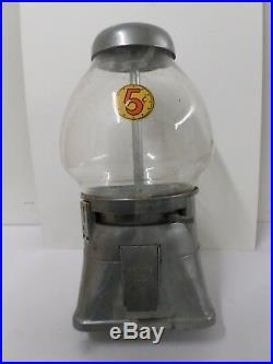 Vintage Regal 5 Cent Gumball Candy Nut Machine Oblong Glass Globe Works No Key