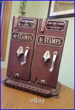 Vintage SCHERMACK Dual US Postal Service Hand Crank 4 & 5 cent Stamp Dispensers